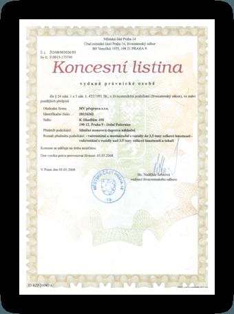 Certifikát MV Přeprava – koncesní listina