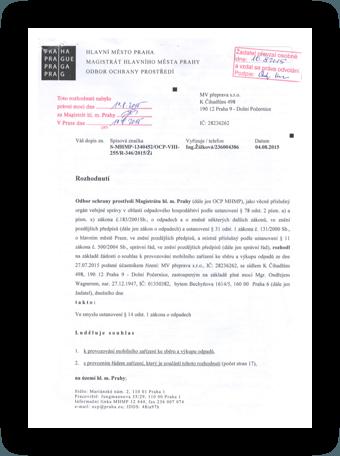 Certifikát MV Přeprava